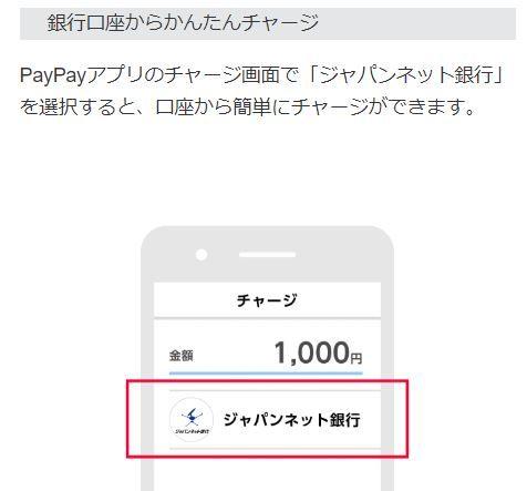 PayPay ジャパンネット銀行からチャージ