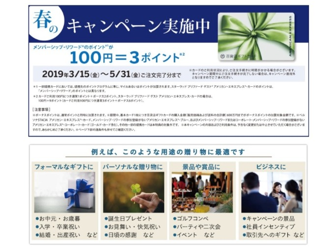AMEX百貨店ギフトカードポイント3倍キャンペーン