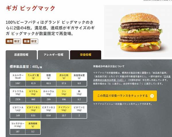 ギガビッグマックの栄養情報