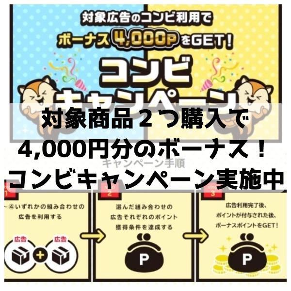 対象商品2つ購入で4,000円分のボーナスポイント獲得!最大142%のポイント還元がもらえるコンビキャンペーンは8月31日まで