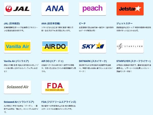 ソラハピ取扱航空会社
