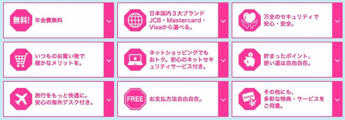 セディナカードJiyu!da!特徴