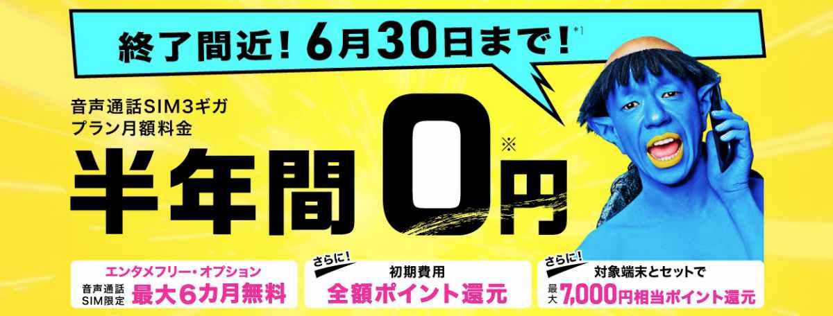 BIGLOBEモバイル6ヶ月間0円キャンペーン
