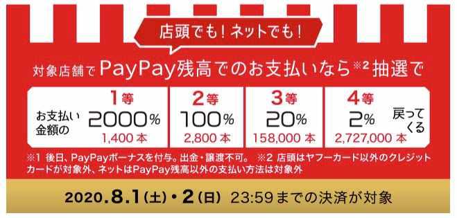 PayPay当選金額