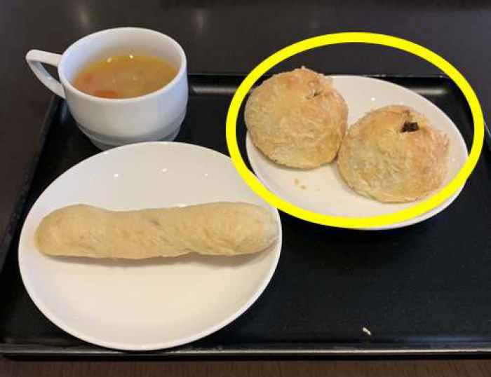ダイヤモンド・プレミアラウンジ焼きカレーパンとメゾンカイザーのパン