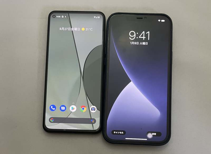 Pixel5aとiPhone12Pro Max画面大きさ比較